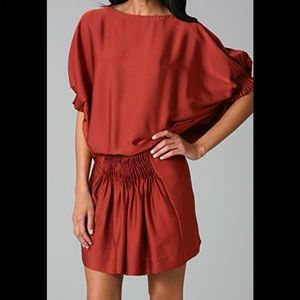DVF | Handy Dress Silk Mini Drop Waist Rust